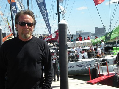 Peter standing with the crew from Boston with Volvo Fleet
